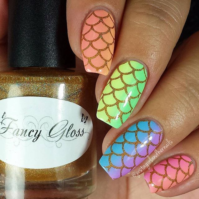 Gorgeous mermaid nail art by @justagirlandhernails using Whats Up ...