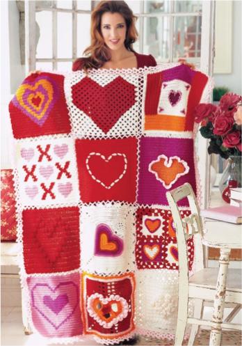 Herz-Quadrate häkeln - Free Crochet Pattern | Häkeln Decken & Kissen ...