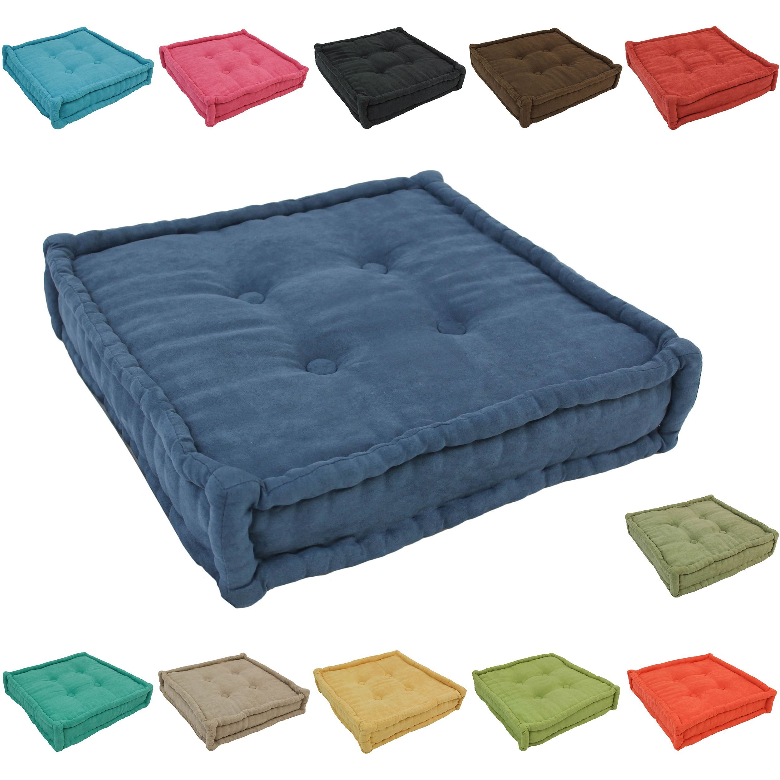 Blazing Needles 20-inch Square Corded Floor Pillow with Button Tufts ...