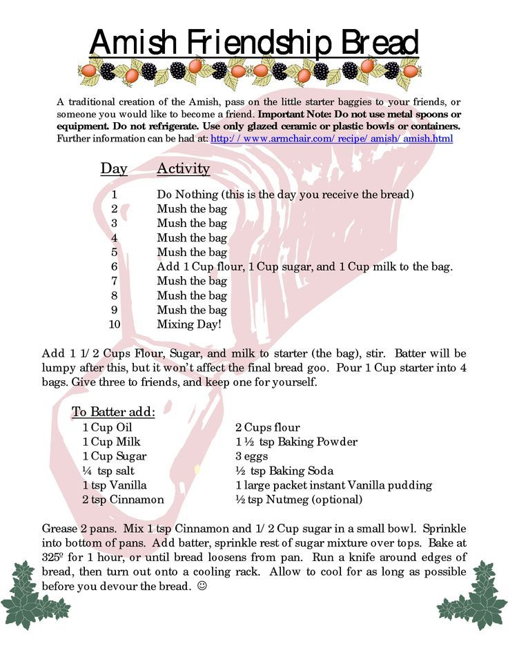 Amish friendship bread instructions for friends. | Recipes + Instructions | Amish Friendship ...
