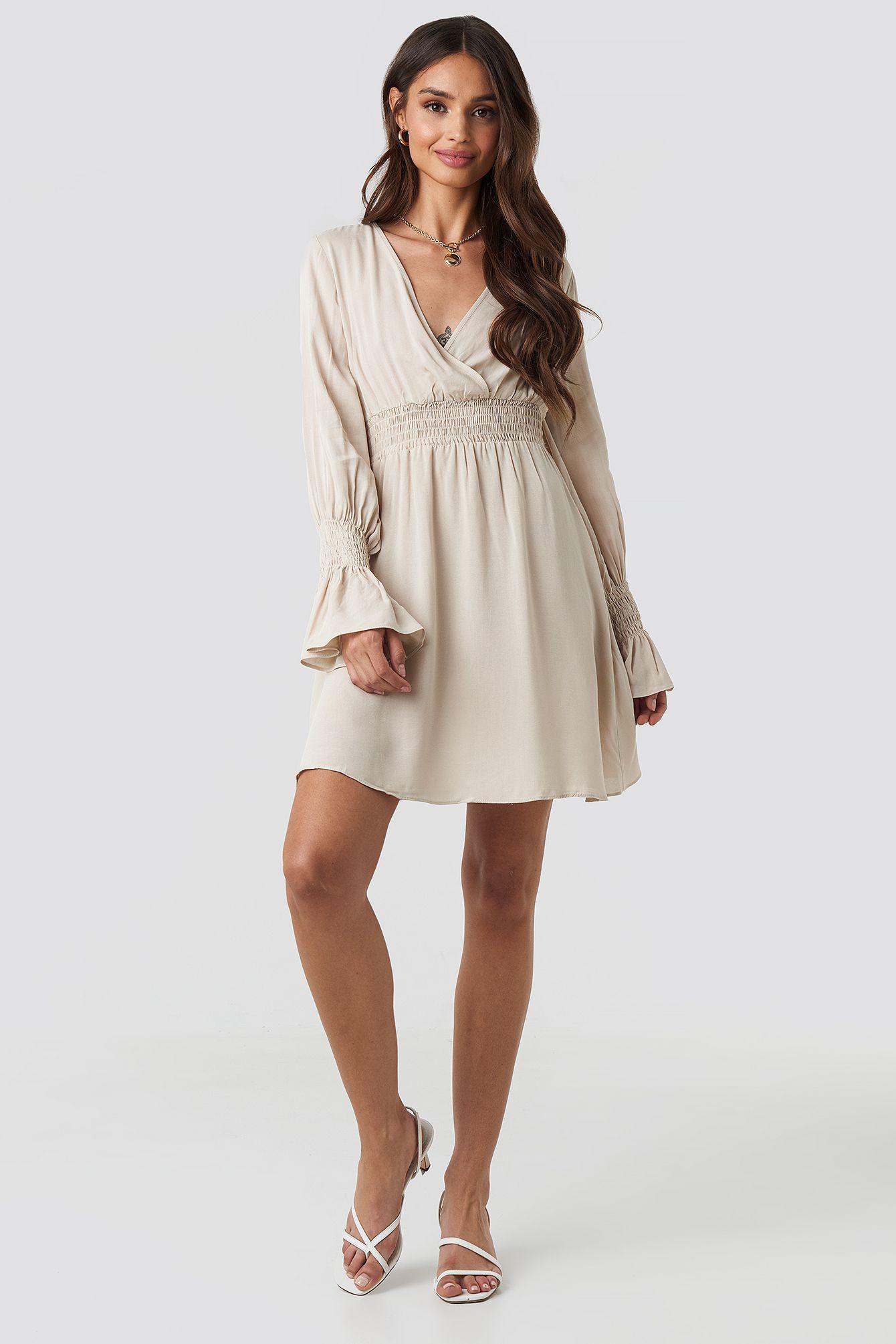 Trendyol Elastic Waist Ls Dress - Beige  ModeSens in 14