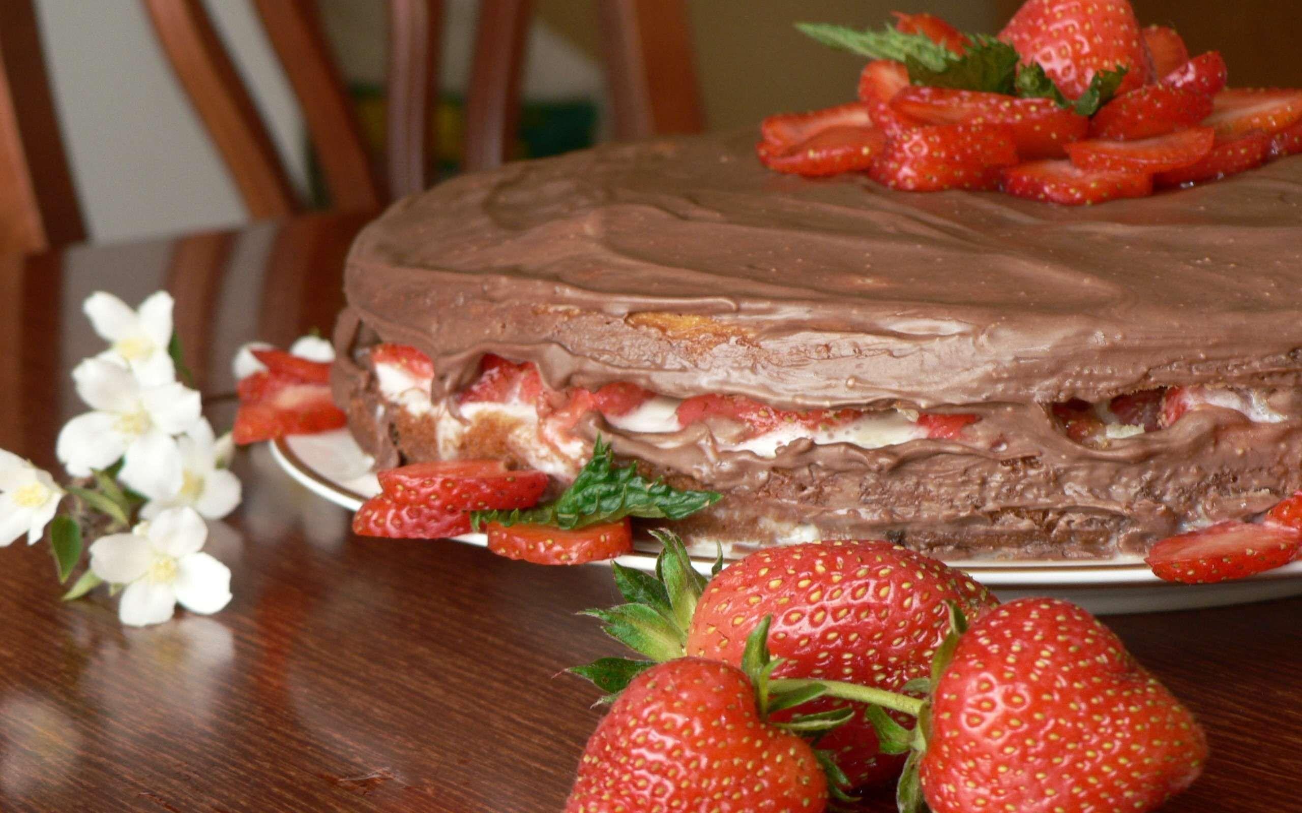 Обои Strawberry, cake, food. Еда foto 14