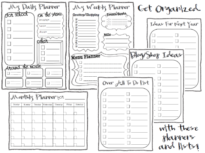 Planners and To Do Lists – Student List Template