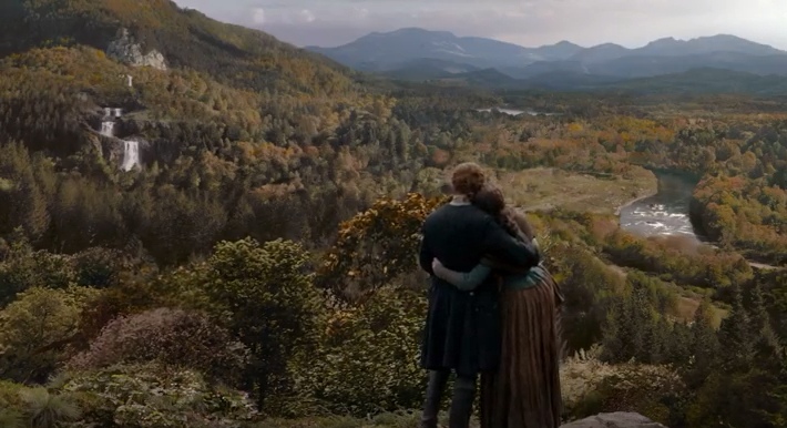 Image result for Jamie and Claire season 4 gazing over the mountains