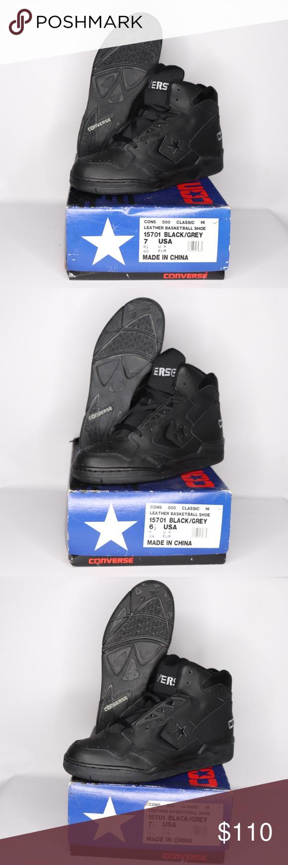 f04447e95ef6 Vintage New Converse Cons 500 Hi Shoes Black Gray Vintage 90s Converse Cons  500 Hi Leather Basketball Shoes Basketball Shoes New with box
