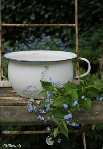 white bowl and blue flowers