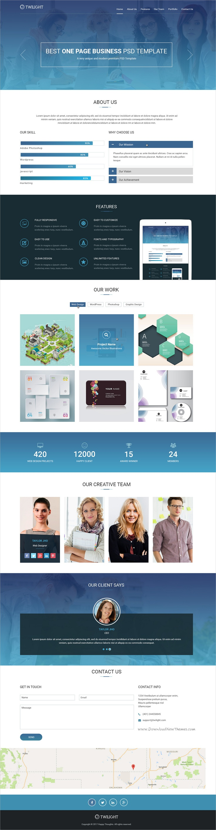 Twilight one page business psd template pinterest psd templates twilight is a wonderful onepage photoshop template for creative business website download now wajeb Choice Image