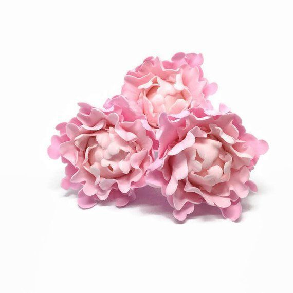 Ombre Pink Peony Bud Sugar Flower set of 3 Gumpaste Cake Topper for Weddings B