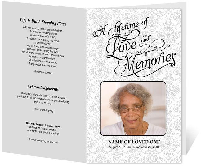 lifetime funeral program template