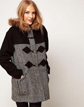 ASOS Mixed Fabric Duffle Coat