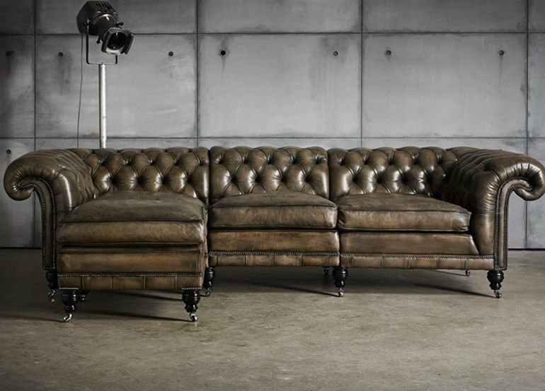 Leather sectional : tufted leather sectional - Sectionals, Sofas & Couches