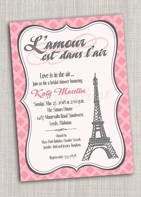French Themed Eiffel Tower Paris Party Invitation Card