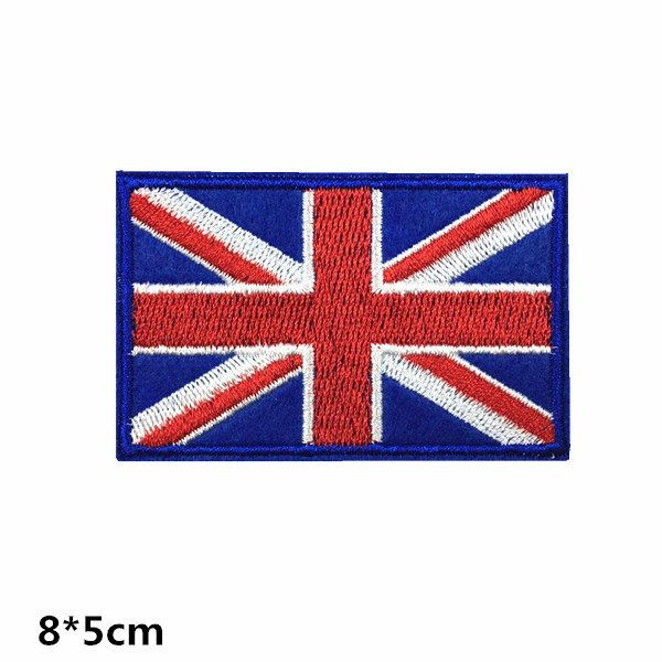 UNITED KINGDOM Iron On Patch Sew on Transfer UK Flag with TEXT Great Britain