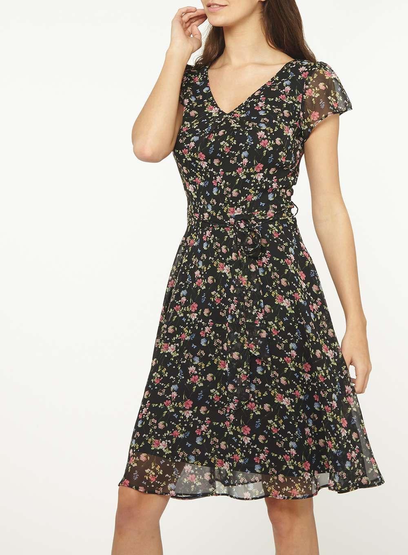 a09330f1c7 Billie   Blossom Tall Black Ditsy Mix Skater Dress