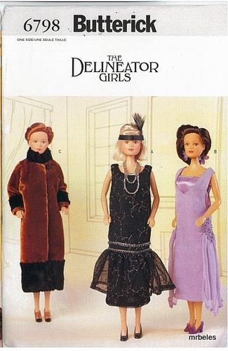 """Butterick 6798 11½"""" Fashion Doll Delineator Girls Clothes Pattern"""