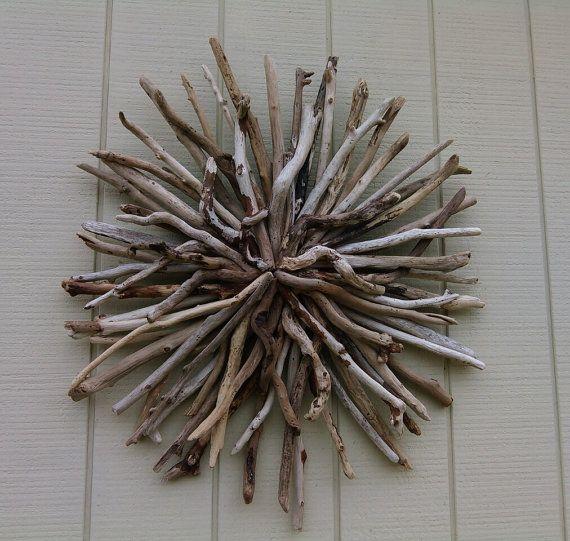 Outdoor Sunburst Wall Art Round Driftwood Wall Sculpture Hand Made