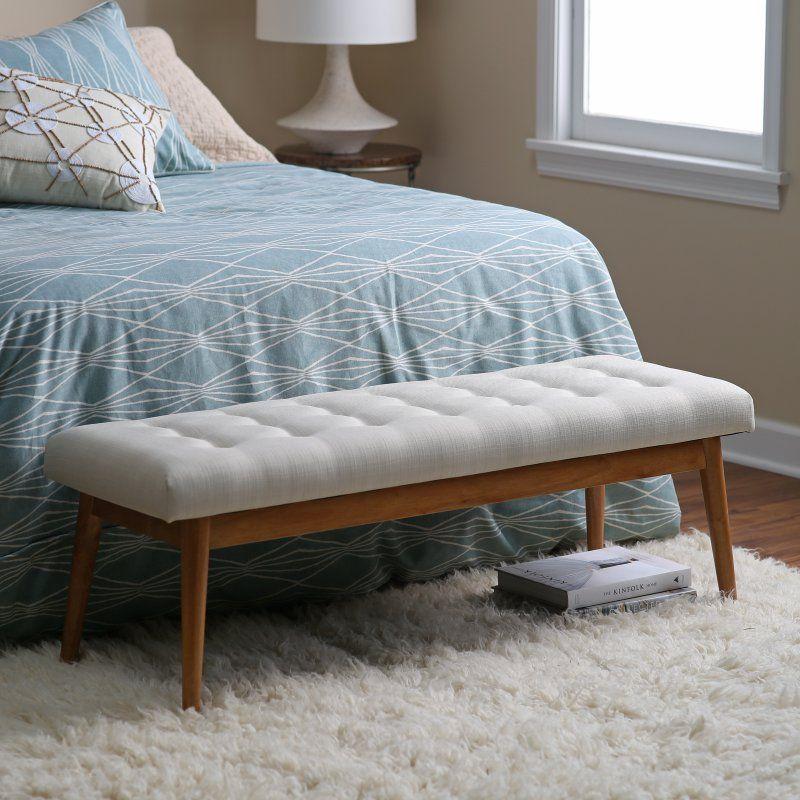 Belham Living Darby Mid Century Modern Upholstered Bench Rh150937 Bout De Lit Canape Chambre Couverture Lit