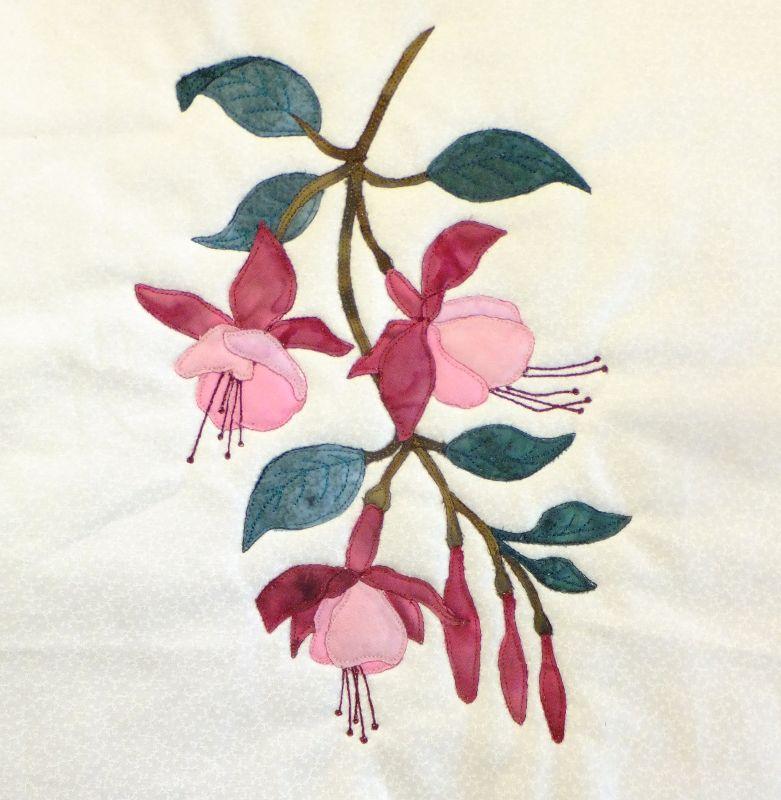 Fuchsia Block Embroidery Flowers Pattern Flower Embroidery Designs Embroidery Flowers