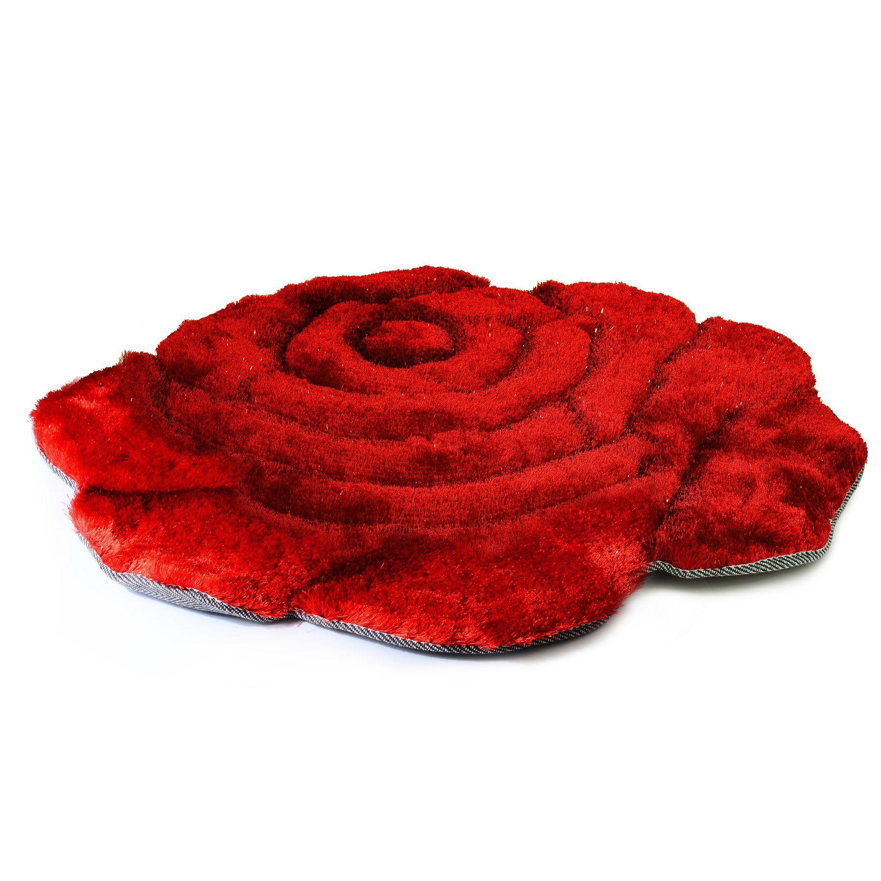 Com Super Soft Solid Color Area Rug Modern Rose Flower Shaped Shag