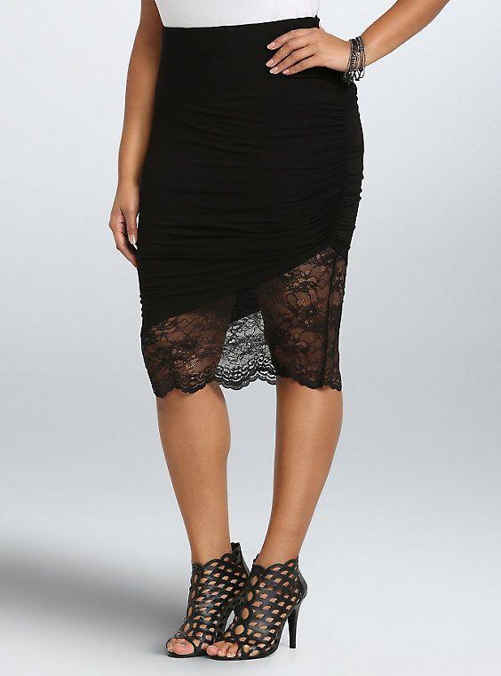 0cb0586895434 Asymmetrical Lace Midi Skirt