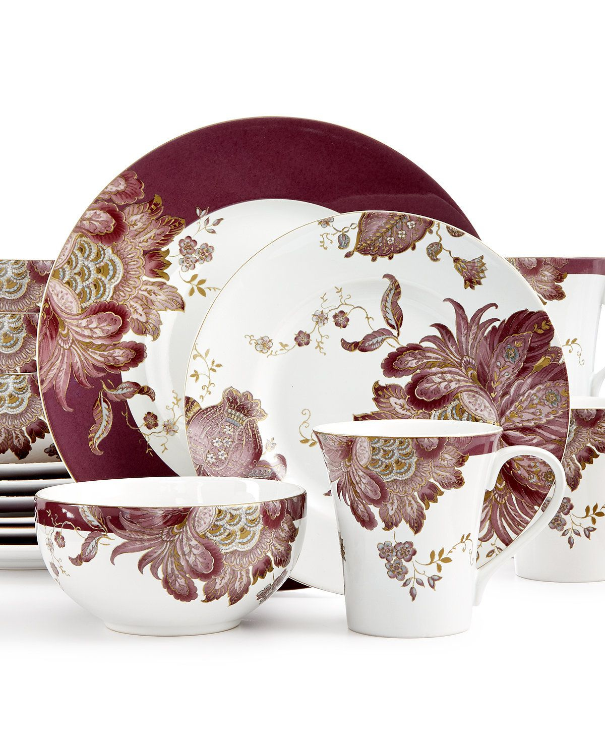 222 Fifth Eliza Plum 16-Pc. Set, Service for 4 | Dinnerware and Shopping