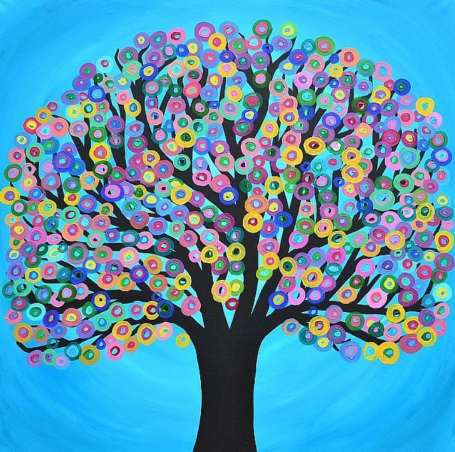 Extra Large Square Abstract Tree Painting 40 x 40 inches