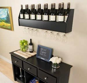 Elegant Floating Wine Rack Wall Mount Stemmed Glass Holder Liquor Bottle Storage  Shelf | EBay