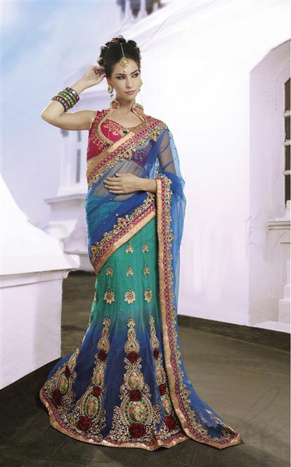 Awesome aqua blue shaded net embroidery Lehenga Saree with golden border