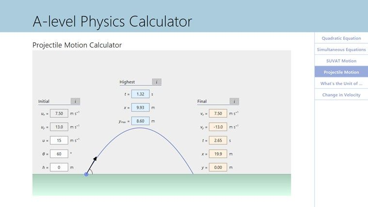 A Level Physics Calculator App For Windows In The Windows Store Simultaneous Equations Quadratics Physics