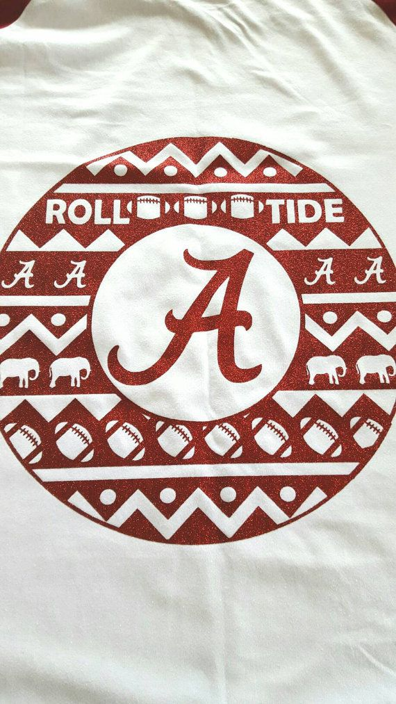 Alabama Raglan Tee W Monogram Roll Tide Crimson Tide