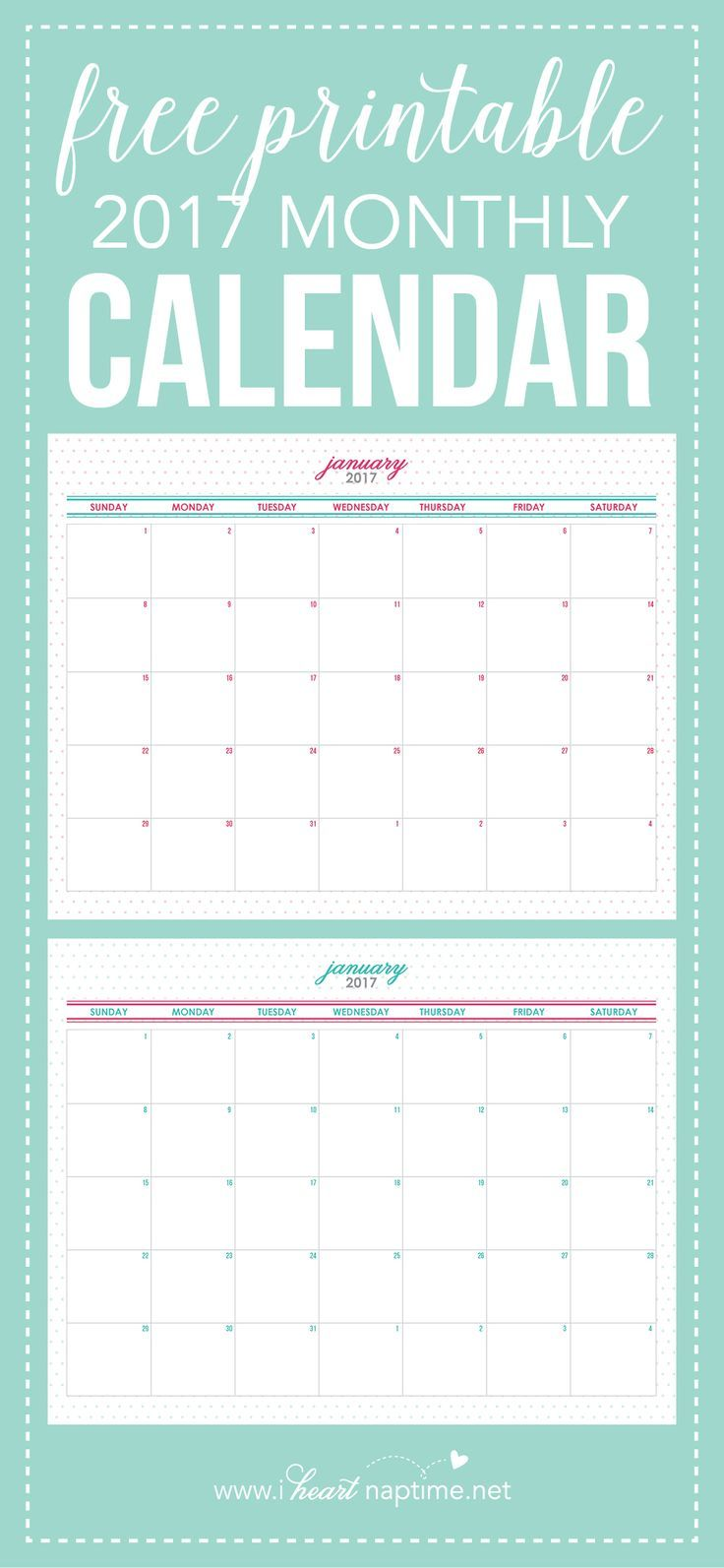 Download this FREE Printable 2017 Monthly Calendar to stay organized