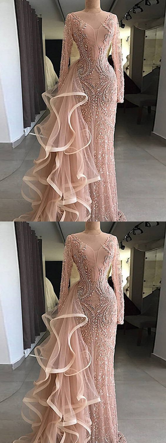 Chic pink prom dress sheath long sleeve prom dress in cheap