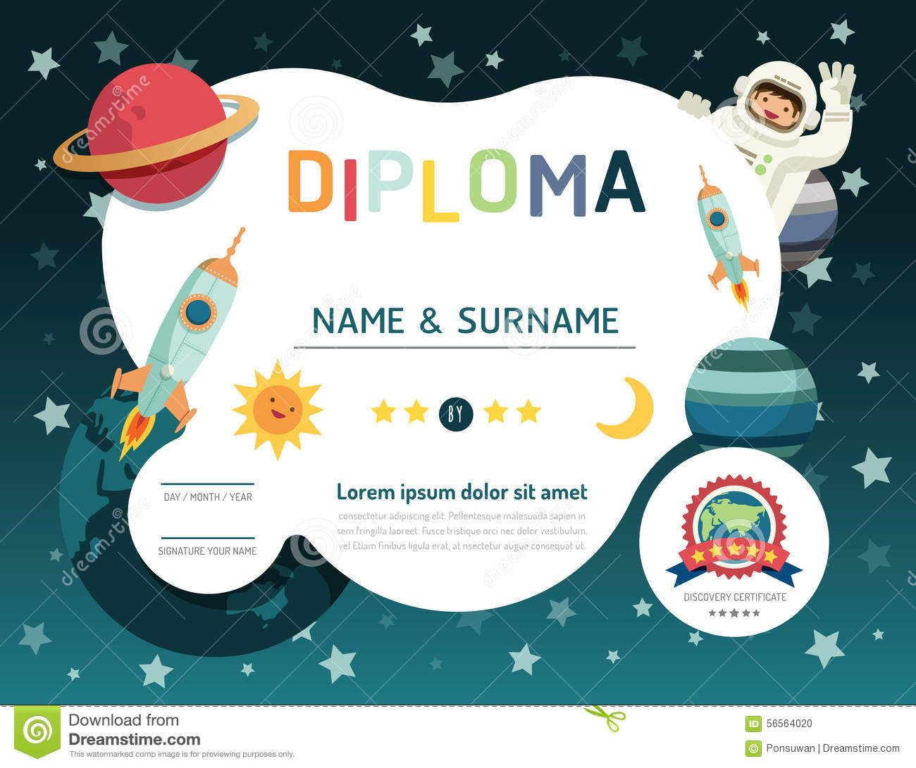 Certificate Kids Diploma Kindergarten Template Layout Space Bac