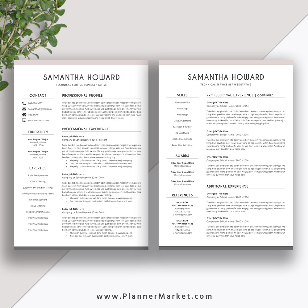 Clean Resume Template 2020, Cover Letter, CV Template Word
