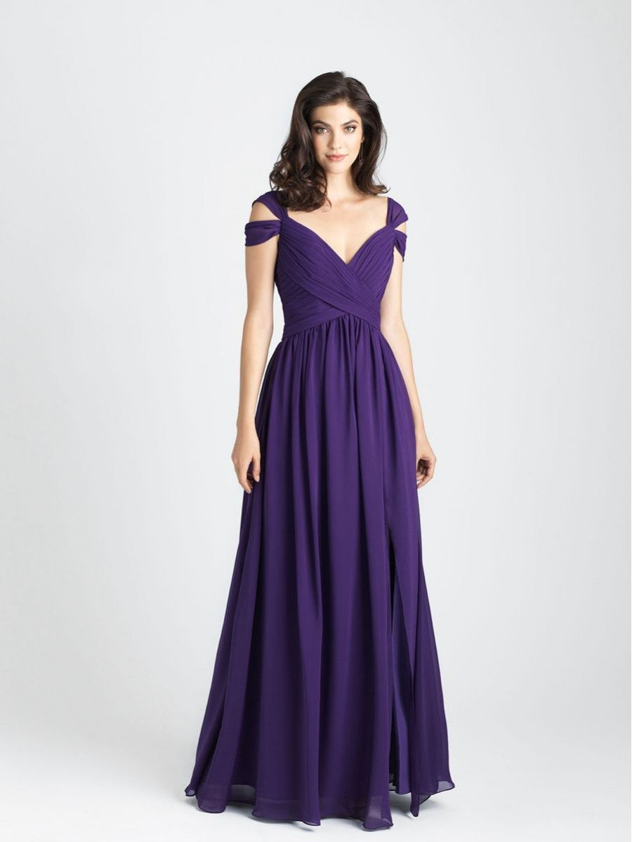 A-Line Off-the-Shoulder Purple Chiffon Long Wedding Party Bridesmaid ...