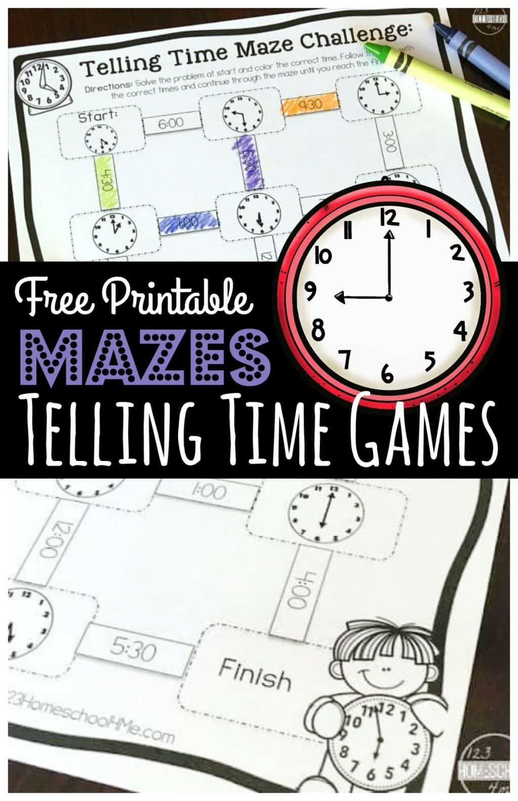 Free Free Printable Telling Time Games Gt Mazes In