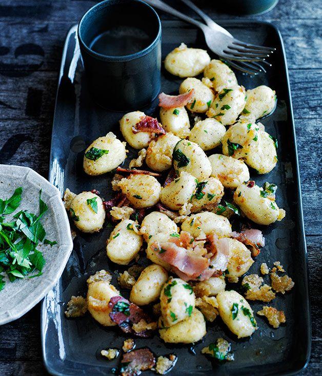 Potato dumplings with crisp breadcrumbs and speck