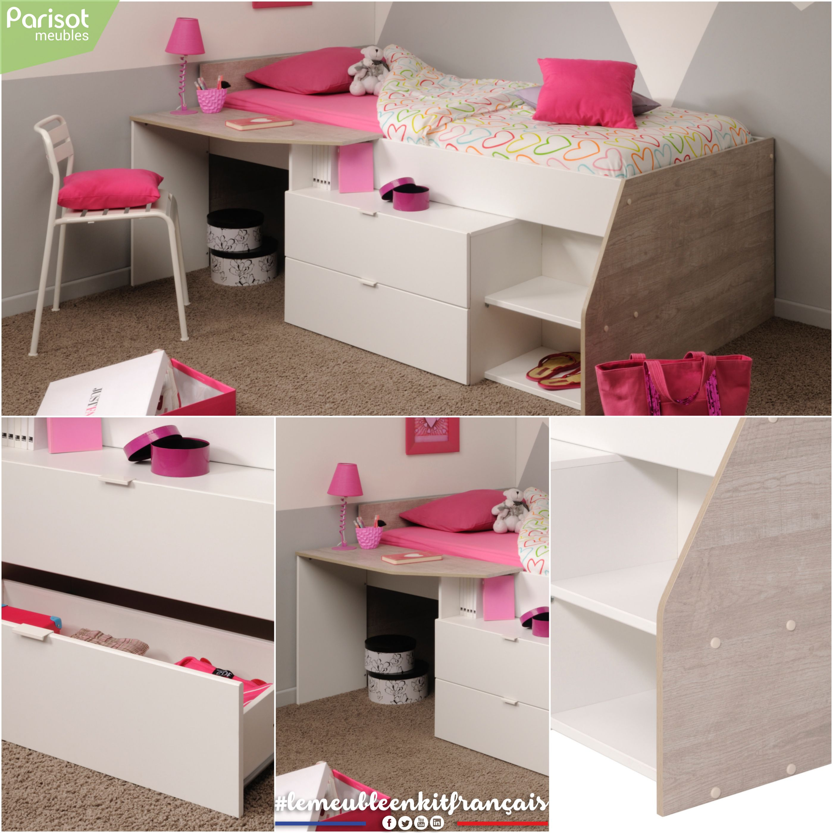 Milky By Parisot Meubles An All In One Space Saving Bedding Solution This Bed Includes A Desk Bedside Table Space Two Drawers Wi Mobilier De Salon Interieur