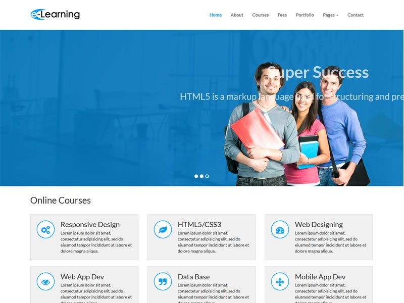 Elearning Education Free Bootstrap Web Template An Modern And Elegant Bootstrap Template The Te Educational Websites Math Addition Worksheets Web Template