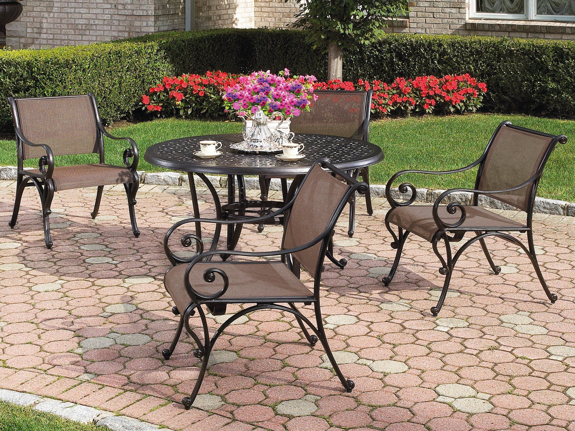 Cast Classics Madison Sling Casual Cast Aluminum Dining ... on Fine Living Patio Set id=88069