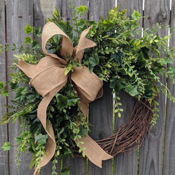 Photo of Door Wreath, Monogram Wreath, Burlap Wreath, Succulent Wreath for All Year Round, Everyday Wreath, Green Wreath, Natural Wild Front Door