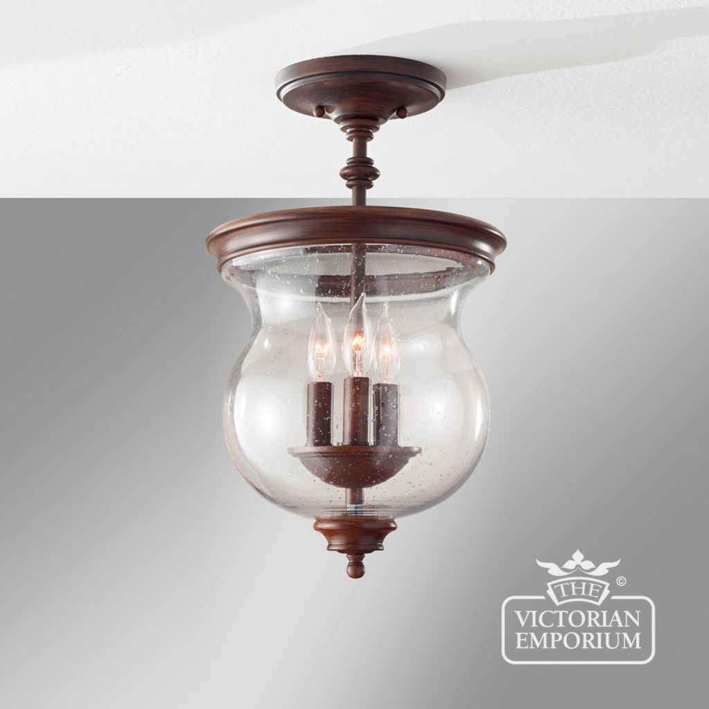 Buy Pickering Semi-Flush/Duo-Mount, Interior ceiling and hanging lights - Heavily influenced by the country farmhouse look of Northern Europe taken from the early 1900s. With the  storm glass look and tall candle effect, these country living feel fittings are supplied in a Heritage Bronze finish.