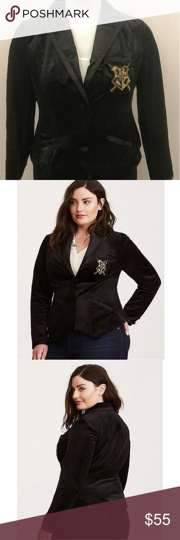 0e1839dc8b7 Harry Potter Velvet Blazer The blazer pocket has a Hogwarts crest and is  form fitted. It s a black velvet with a silk lining. Measurements Size 1    14 16 ...