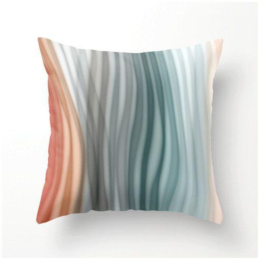 SOFT PASTEL BANDS decorative pillow aqua gray grey peach teal