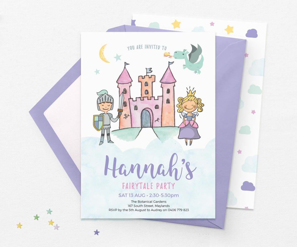 Fairytale invitations, Kids birthday invitations Fairytale birthday ...