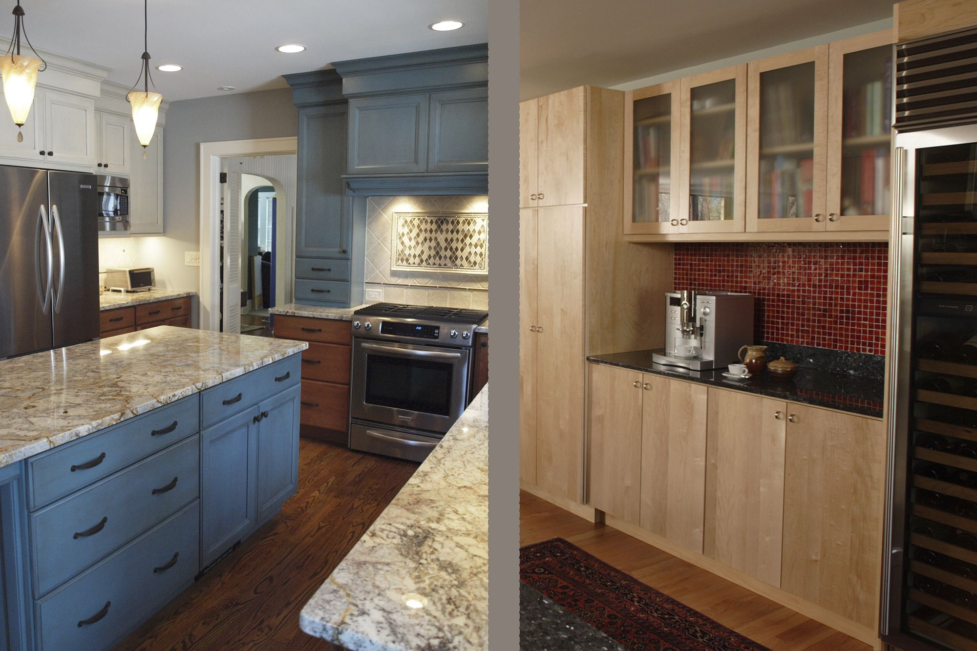 Marvellous Ideas Furniture Interesting Remodeling Kitchen Decors After And Before Added Blue Cabinets Blue Kitchen Cabinets White Kitchen Design Kitchen Design