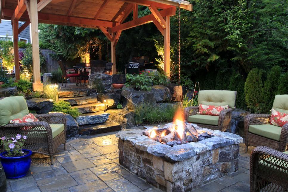 Rustic Backyard Area With Stone Fire Pit Rustic Patio Dream Backyard Backyard Patio