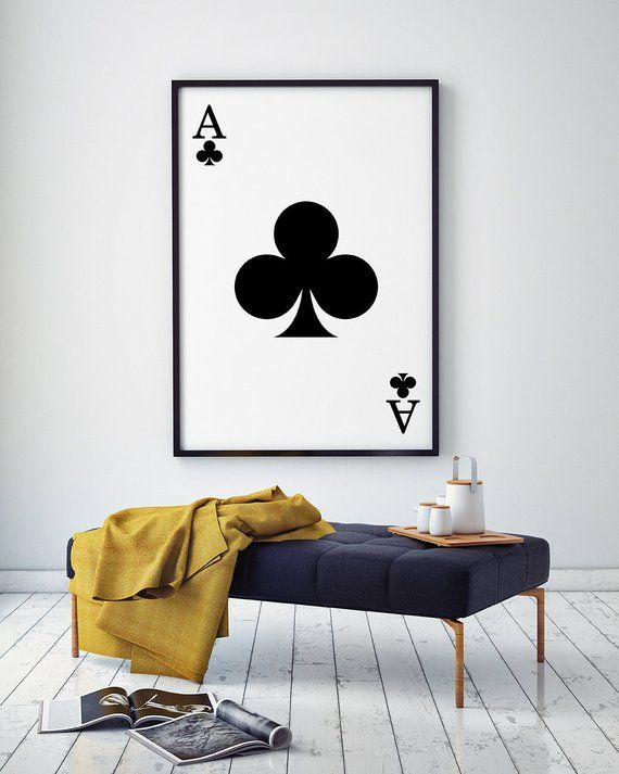ace club wall art, ace print, printable art, modern wall art, black