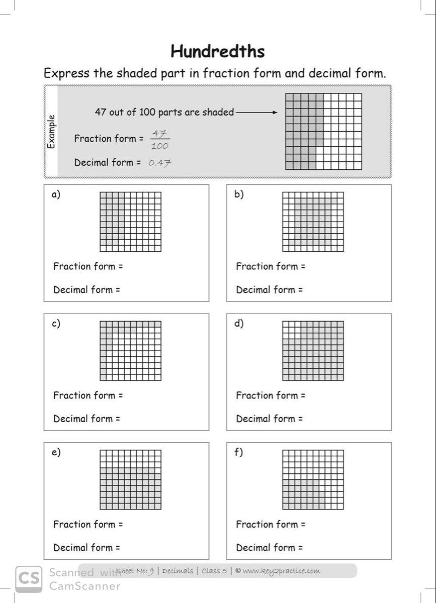 Class 5 Maths Worksheets I Chapter Decimals key2practice