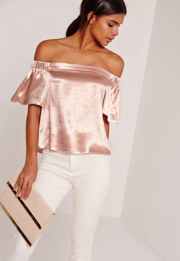cc0450ed38b Crushed Satin Bardot Blouse Pink in 2018 | Giving a Gift | Pinterest ...